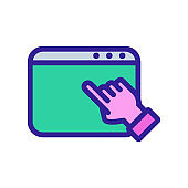 Browser hand icon vector. Isolated contour symbol illustration