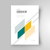 Flyer cover design, business brochure size A4 template, trend cover geometric