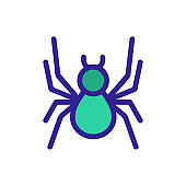 Spider icon vector. Isolated contour symbol illustration