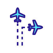 The trajectory of the plane is an icon vector. Isolated contour symbol illustration