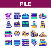 Pile Objects Things Collection Icons Set Vector