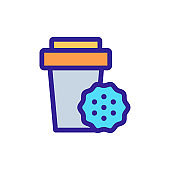 coffee cookie icon vector. Isolated contour symbol illustration