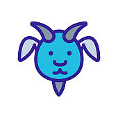 goat icon vector. Isolated contour symbol illustration