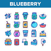 Blueberry Berry Food Collection Icons Set Vector