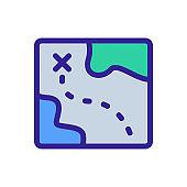 Treasure map icon vector. Isolated contour symbol illustration