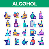 Alcohol Drink Bottles Collection Icons Set Vector