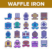 Waffle Iron Equipment Collection Icons Set Vector