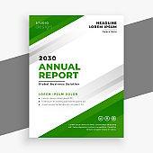 green annual report business brochure template design illustration