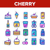 Cherry Vitamin Berry Collection Icons Set Vector