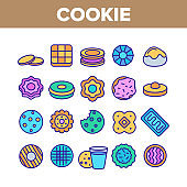 Cookie Baked Dessert Collection Icons Set Vector