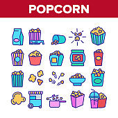 Popcorn Tasty Snack Collection Icons Set Vector