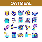 Oatmeal Healthy Food Collection Icons Set Vector