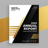 stylish golden and black annual report brochure template