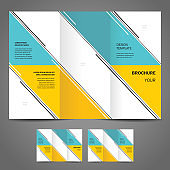 Business brochure design template vector trifold geometric abstract, cmyk profile