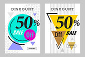 Sale Flyer set banner poster brochure discount template for shopping