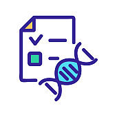 dna document icon vector. Isolated contour symbol illustration