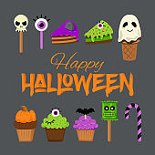 """Set of isolated Halloween candies and lettering """"Happy Halloween"""""""