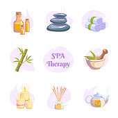 Spa therapy icons set on white background for wellness salon. Relax massage vector illustration. Body health nature concept. Beauty skincare design elements. Herbal organic collection