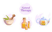 Natural Healthy lifestyle icons set for spa salon. Blooming tea, massage oil, mortar and pestle Herbal organic illustration. Massage wellness beauty care concept. Isolated vector on white background