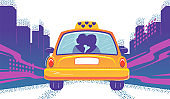 Taxicab with couple in cartoon style. Love taxi on flat city skyline background. Cab on road vector romantic illustration. Valentine day postcard. Purple poster with yellow car on street. Urban card