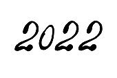 Hand drawn 2022 year number. Handwritten isolated lettering text. Design element for New Year banner, poster, invitation, greeting card