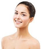 Toothy Smiling Woman Face, Natural Beauty Makeup and Skin Care, Happy Brunette Girl on White