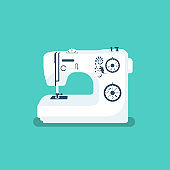 Sewing machine isolated on background. Vector