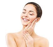 Smiling Woman, Face and Hands Skin Care, Natural Beauty Makeup, Happy Girl Laughing and Relax, on White