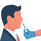 Nasal swab laboratory test. Study of patients