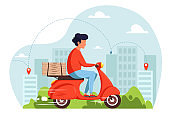 Scooter delivery service concept, courier riding scooter with delivery box. Vector illustration in flat style.