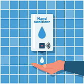Hand sanitizer wall. People use automatic alcohol antiseptic gel