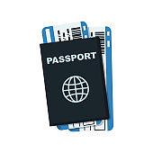 Passport and plane tickets. Passport documents