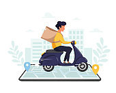 Online delivery service, online shopping concept. Fast delivery by scooter via mobile phone. Vector illustration in flat style.
