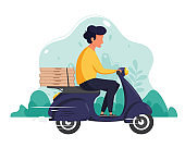Delivery service concept. Pizza delivery. Courier character riding by scooter. Vector illustration in flat style.