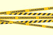 Lockdown coronavirus. Quarantine concept. Caution lines.