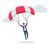 Businessman on a parachute makes a jump. Vector illustration flat design