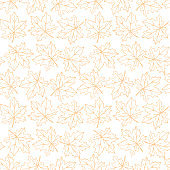 Seamless pattern of contoured maple leaves isolated. Simple vector texture for fabric, invitations, home textiles. Concept of autumn, forest, leaf fall