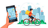 Bike delivery service concept. Courier riding by bicycle with delivery box, hand holding smartphone with online tracking. Vector illustration in flat style.