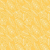 Seamless pattern falling leaves. Vector autumn texture isolated on orange background, hand drawn in outline doodle style. Concept of forest, leaf fall, nature
