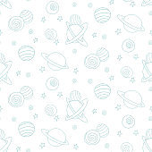 Baby space seamless pattern. Cartoon blue outline planets and stars. Vector cosmic background and texture. For kids design, fabric, wrapping paper, wallpaper, textile, apparel