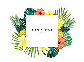 Green summer tropical background with exotic monstera palm leaves, pineapples, plumeria and hibiscus flowers. Vector floral background. Party flyer, invitation or banner template.