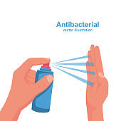 Human uses antibacterial spray. Personal hygiene concept