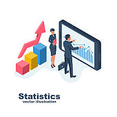 Business statistics. Business people man and woman analyze data.