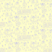 Vector color seamless childish pattern with cute outline monsters aliens, space doodles, lettering. Baby background perfect for fabric, wrapping, wallpaper, textile, apparel, cover
