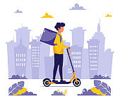 Delivery service. Courier character riding by electrical scooter. Eco transport concept. Vector illustration in flat style.