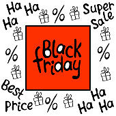 Vector poster, title, frame on theme of black Friday, shopping, discounts and sales. Border made from hand drawn outline gifts, percents, inscriptions in doodle style