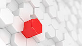 Stand out from the crowd. Abstract technological background with white hexagon cells and one red. Be creative.