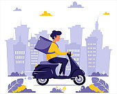 Delivery service concept. Courier character riding by scooter. City background. Vector illustration in flat style.