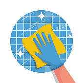 Cleaning service flat logo icon. Hand in glove with a rag.