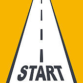 Start line highway. Business planning. Abstract background of the beginning